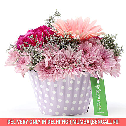 Buy Online Pink & Purple Mix Flower Arrangement