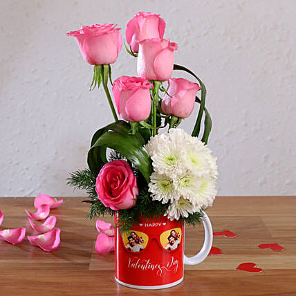 Pink Roses & Daisy Stems In Cool glasses Personalised Mug