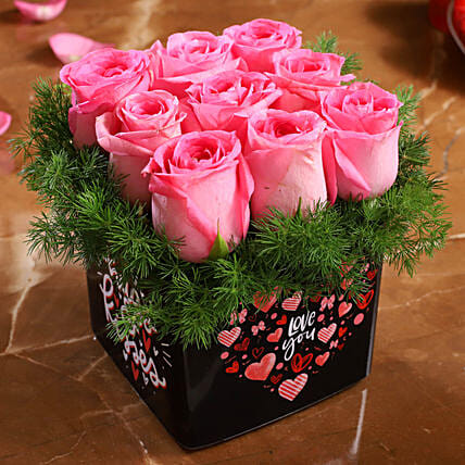 pink rose arrangement for valentine