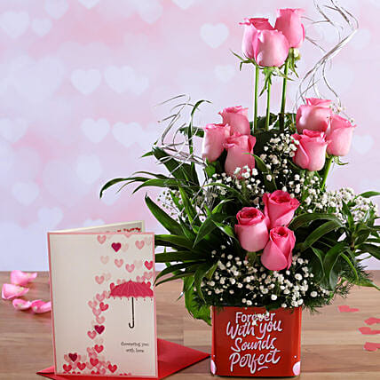 Pink Roses In Sticker Vase and Love Umbrella Card:Valentines Day Flowers & Cards
