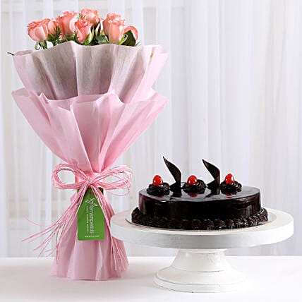 Pink Roses with - Bouquet of 10 pink roses with in paper packing and 500 grams of truffle gifts:Mothers Day Gifts Udupi