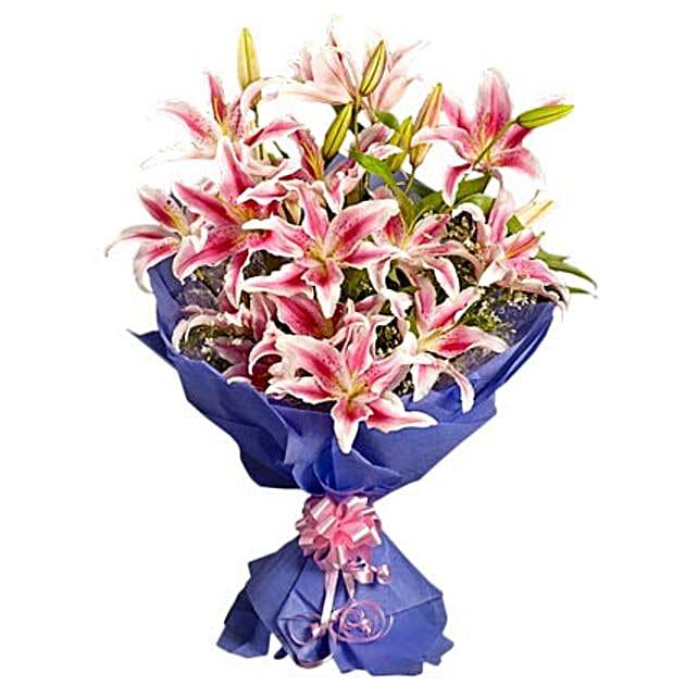Pink Stargazer Lilies - Bunch of 10 Pink Oriental Lilies.