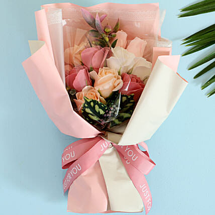 Pink & White Artificial Flower Bouquet:Artificial Flowers