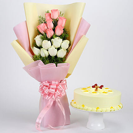 Pink and White Roses Bouquet with Cake Combo:Women's Day Flowers & Cakes