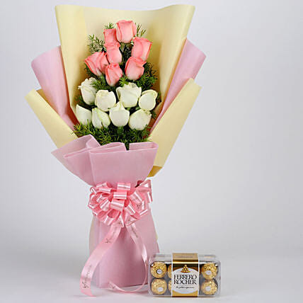 Mixed Roses Bouquet and Chocolate Online:Chocolate Combos For Mothers Day