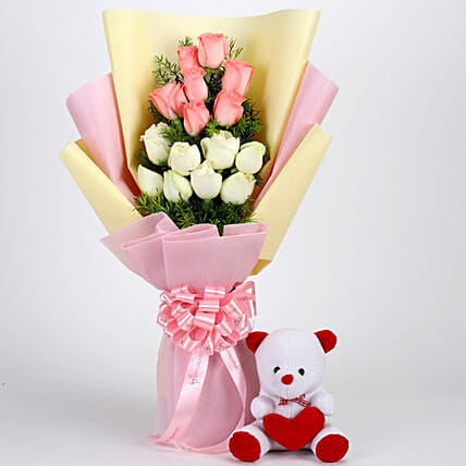 Pink and White Roses with Teddy Combo