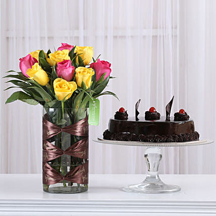 Online flower arrangement n truffle cake combo:Cake and Flower Delivery