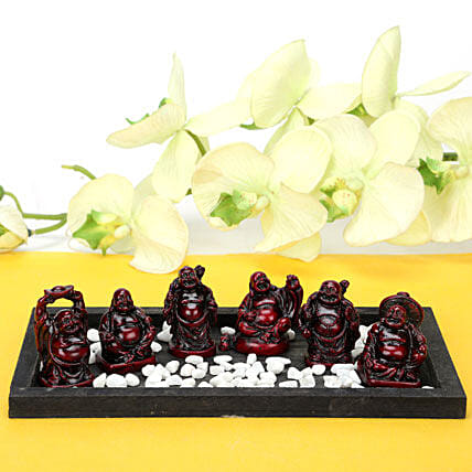 Platter Full Buddhas-6 buddha in black tray:Handicrafts