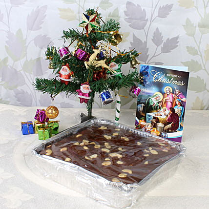 Online Plum Cake and Decorative Tree with Card
