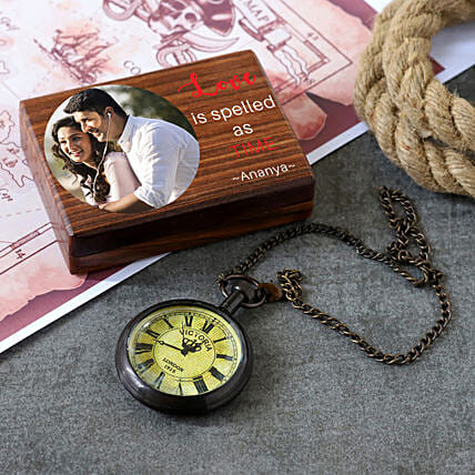 Pocket Watch Victoria 1915 With Personalised Wooden Box:Personalised Antique gifts