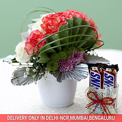 Bunch of Flowers with Chocolates Online
