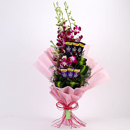 Online Dairy Milk Orchids Bouquet