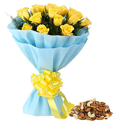 Yellow roses bouquet and dry fruits combo