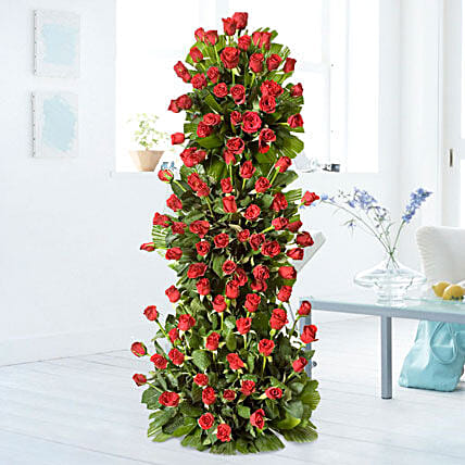 Breath Taking Roses - 3-4 ft high arrangement of 100 red roses.:Gifts for 75Th Birthday