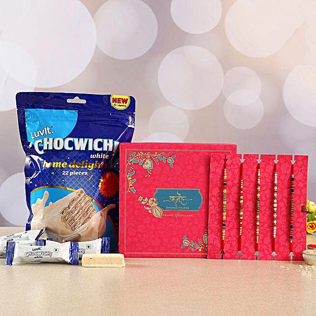 Premium Designer Rakhi Set & Chocolates:Send Set of 5 Rakhi