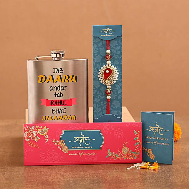 Premium Ethnic Rakhi And Personalised Hip Flask Hamper