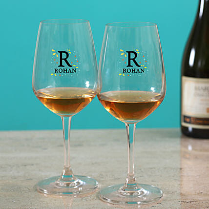 Premium Personalised Wine Glass Set:Personalised Glassware