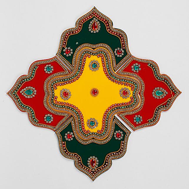 Premium Red & Green Stone Rangoli Design- Ready To Use
