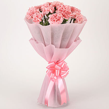 Pink Combination - Bunch of 10 Pink Carnations in pink paper packing.:Carnations