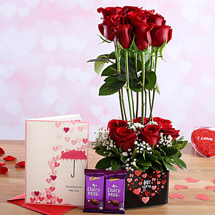Pretty Roses In Sticker Vase and Love Card with Cadbury Dairy Milk:Flower Bouquet and Card Delivery