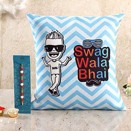 Buy Printed Cushion with Pearl Rakhi Combo Online