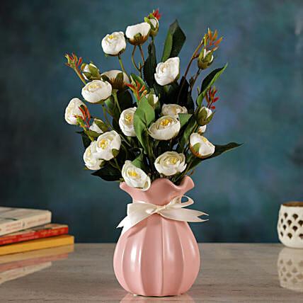 White Pristine Floral Arrangement:Artificial Flowers