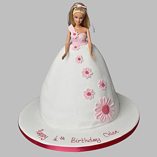 Snow-White Floral Barbie Cake 2kg