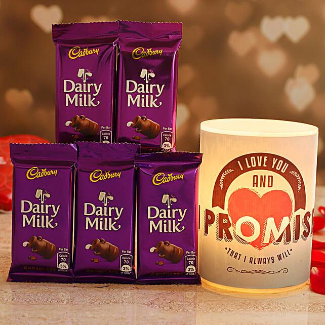 Promise Day Hollow Candle 5 Cadbury Dairy Milk Chocolates