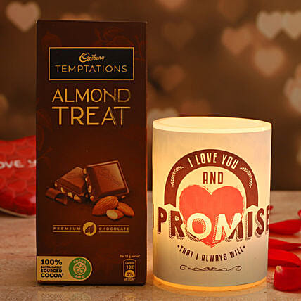 Promise Day Special Hollow Candle Cadbury Almond Treat