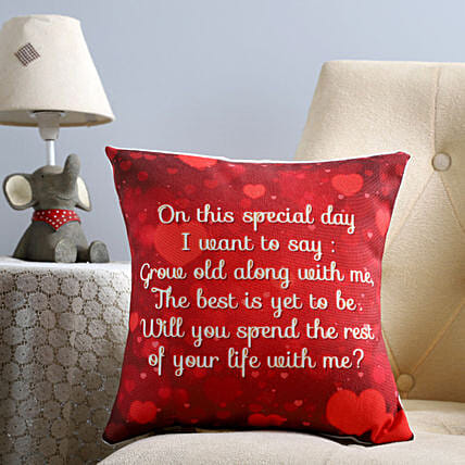 proposal message printed cushion for him