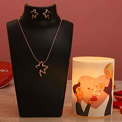 Propose Day Hollow Candle Pretty Necklace Set