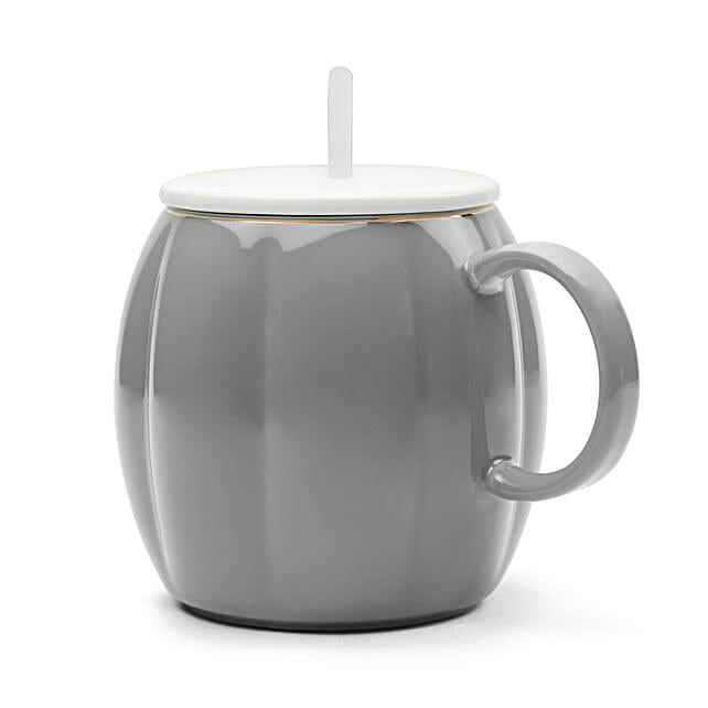 Pumpkin Shaped Grey Mug With Lid Spoon:Unusual Mugs