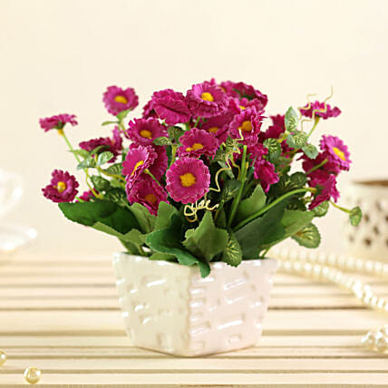 purple artificial daisies in white pot online:Artificial Flowers