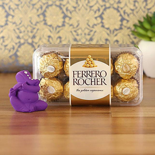 Purple Flute Ganesha Idol & Ferrero Rocher Combo