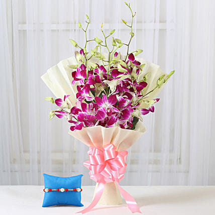 Online Purple Orchids Bouquet & Meenakari Rakhi