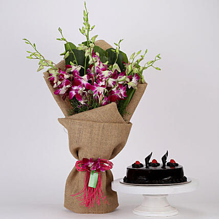 Purple Orchids Bouquet and Truffle Cake Online