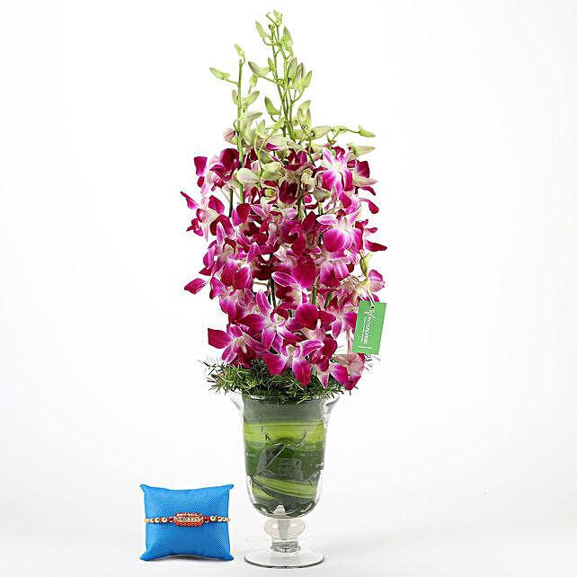 Online Purple Orchids Vase & Capsule Rakhi