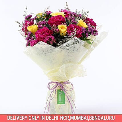 Send Online Purple & Yellow Rose Bouquet