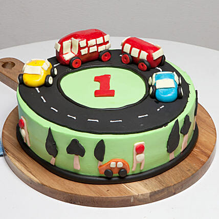 Race Track First Birthday Vanilla Cake 1 Kg