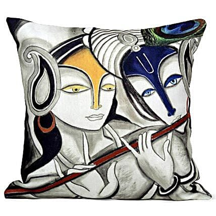 Radha Krishan Cushion-cushion is available 12X12 inches:Send Janmashtami Gifts