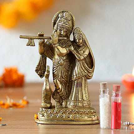 Lord radha krishna brass idol online:Send Janmashtami Gifts