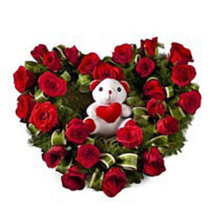 Radiant Rage - Heart shape arrangement with a cute white .
