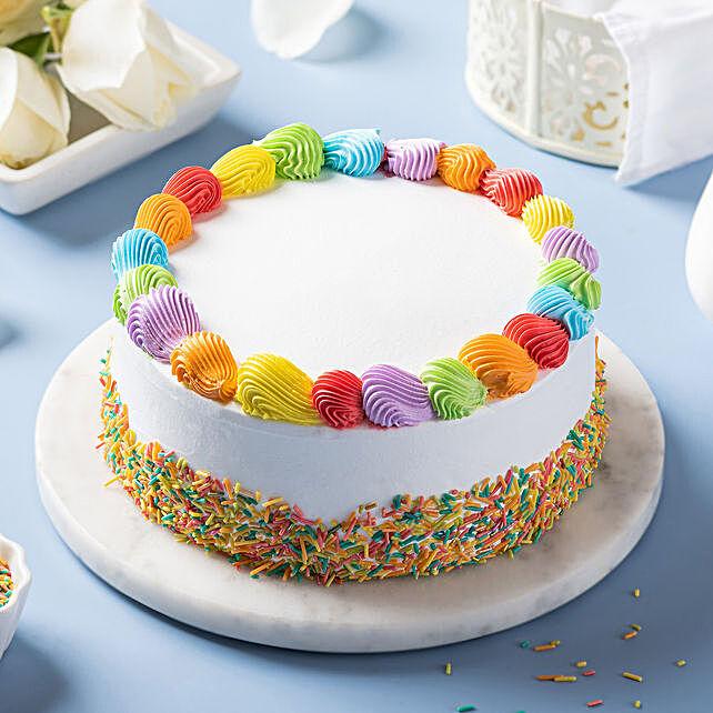 rainbow vanilla cream cake online