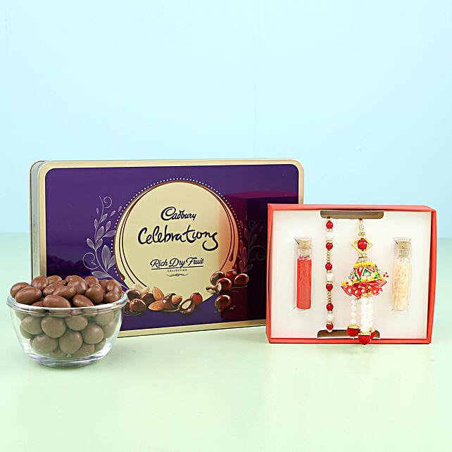 set of 2 rakhi for bhaiya and bhabhi with chocolate online