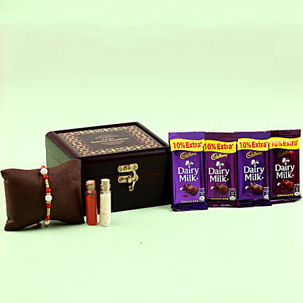 Online Rakhi With Chocolates In Wooden Box