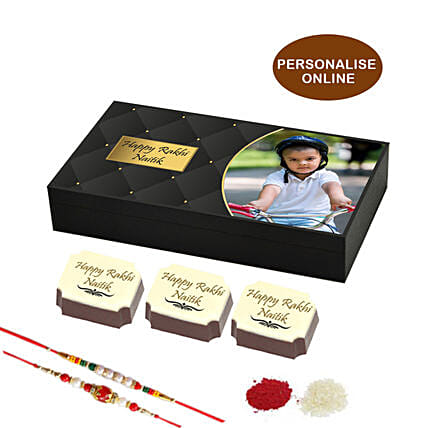 online rakhi & personalised chocolate box- 18 pcs