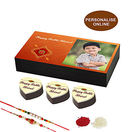 online rakhi & personalised chocolate box- 6 pcs