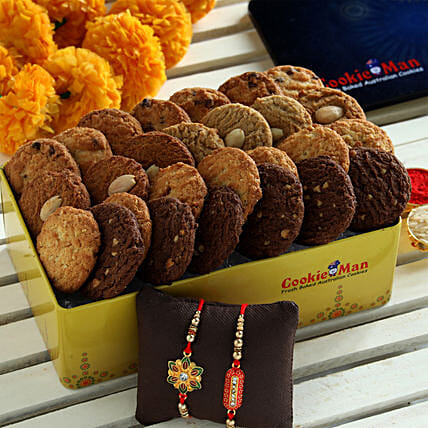 Premium Cookies Box and Rakhis Online:Rakhi With Other Gifts