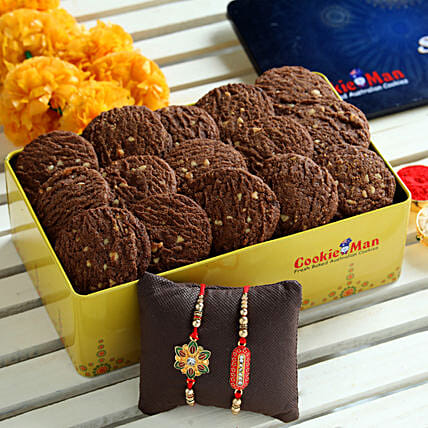Chocolate Cookies Box and Rakhis:Rakhi With Other Gifts