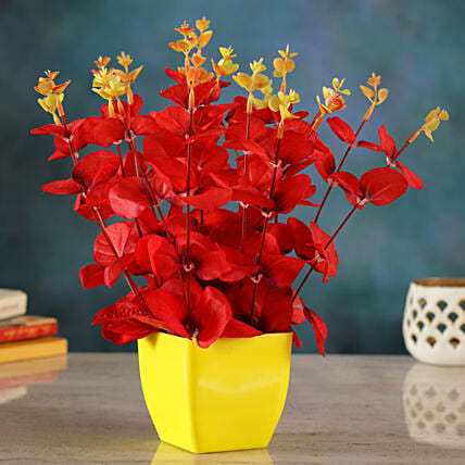 Red Artificial Huckleberry Floral Vase